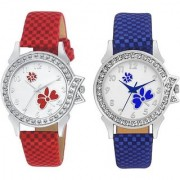 TRUE CHOICE NEW FASHION NEW 2 RED N BLUE VELVET LOOK WATCHES FOR GIRLS N WOMEN WITH 6 MONTH WARRANTY