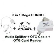 AUDIO SPLITTER + OTG CABLE + OTG CARD READER CODEqK-3267