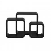 [en.casa]® Třídílná sada designových polic na zeď - černá - model 4