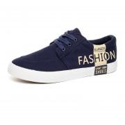 Zapatillas Zapatos De Lona Plana Zapatos Casuales Para Hombre -Azul