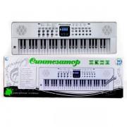 Синтезатор белый 54 клавиш., микрофон., 12 мелодий