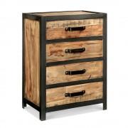 Rose & Moore Cabinet Industriel 4 tiroirs en Bois et Métal Rose & Moore
