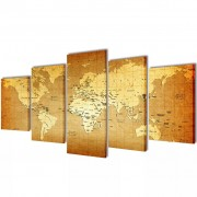 vidaXL Canvas Wall Print Set World Map 200 x 100 cm