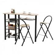 IDIMEX Ensemble table haute de bar et 2 chaises STYLE, décor chêne sonoma et métal noir