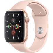 Apple Watch Series 5 GPS, 44mm Gold Aluminium Case with Pink Sand Sport Band - S/M & M/L, MWVE2FD/A