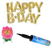 De-Ultimate Set Of Balloons Air Pump HAPPY B.DAY Alphabets Foil Balloons Musical Cake Candle For Birthday Parties Decor