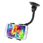Shop4 - Samsung Galaxy S6 Edge Autohouder Raamhouder Knijpklem Zwart