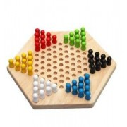 Tradico® Traditional Hexagon Wooden Chinese Checkers Board + 6 Color Pegs Family Game Set