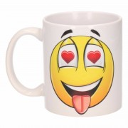 Bellatio Decorations Hartjes ogen smiley mok / beker 300 ml