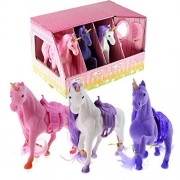 The Magic Toy Shop Set of 3 Large Flocked Unicorn Play Figures in Stable