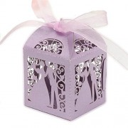 Magideal 50pcs Laser Cut Groom and Bride Candy Boxes Wedding Party Favors Box Purple