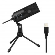 Fifine K669B Cardioid USB Condenser Microphone with Tripod - Black