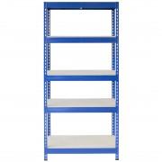 Bezskrutkový kovový regál s HDF policou 180x90x30cm, 5 políc, 400kg na policu, modrá farba