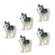Lego 5 pcs New Husky Arctic Siberian Small Dog Animal Pet Puppy White Grey Marbled