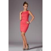 Coral Bateau Neck Seam Shift Slit Dress