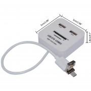 Onloon Micro / USB 2 En 1 Conector USB Y 2 Puertos 2.0 Hub Con SD / TF Lector De Tarjetas, Función De Soporte OTG Compatible Con El Galaxy S3 / S4 / S5 / S6 / NOTA 2/3, Blanca