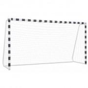 vidaXL Футболна врата, 300x160x90 см, метал, черно и бяло