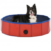 vidaXL Piscină pentru câini pliabilă, roșu, 80 x 20 cm, PVC