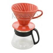 HARIO Ceramiczny Drip Hario V60-02 - CZERWONY
