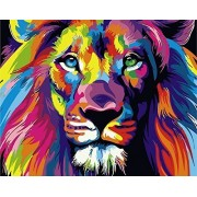 iCoostor Paint by Numbers DIY Painting Kit for Kids & Adults by 16 x 20 Framed Colorful Lion Pattern with 3 Brushes & Bright Colors