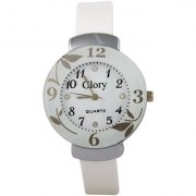 Glory Circular Dial White Strap Design Glass Dial Watch For Women