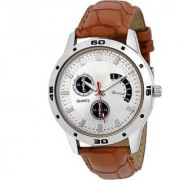 NG Round Dial Brown Leather Strap Quartz Watch For Men