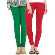 Stylobby Green And Red Kids Legging Pack Of 2