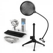 Auna MIC-900S-LED V2, set de microfon usb, microfon condensator argintiu + filtru pop + suport de masă (60001947-V2)
