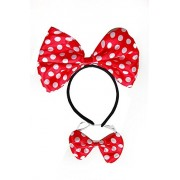 Partysanthe Minnie Head Band Doted Red with Bow/Bow and Head Band Minnie Mouse/Mickey Mouse Bow Headband/Minnie Mouse Ears Headband Hairband Costume Accessory 10pcs