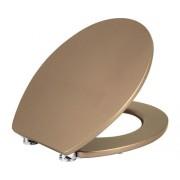 Capac WC form & style, usor detasabil, inchidere lenta, auriu metalic 48,5x37 cm