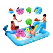 Piscina Gonflabila si Centru de Joaca pentru Copii cu Tobogan Jucarii Gonflabile Model 53052 Design Aquarium 300 L 239 x 206 x 86 cm