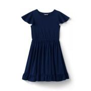 Lands' End Jerseykleid mit Lochstickerei für kleine Mädchen - Blau - 116/122 von Lands' End