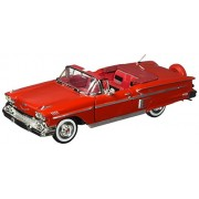 1958 Chevrolet Impala Convertible, Red - Motormax Premium American 73267 - 1/24 Scale Diecast Model Car