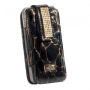 Nour Iphone Etui mit Swarovskikristallen schwarz gefleckt
