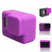 funda de silicona protectora + cubierta de la tapa de la lente para GoPro Hero 5 - purpura