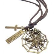 Antique Vintage Men's Jewellery Adjustable Pendant Necklace Men unisex Long Brown Leather Chain Spider Style