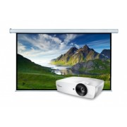 Pachet cu videoproiector Optoma EH461 si Ecran de proiectie electric Blackmount 16/9EL260