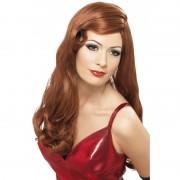 Smiffys Lange rode stijlvolle damespruik