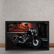 Quadro Decorativo Moto Custom Preto 25x35
