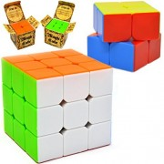 2 Pack Speed Cube Set - Includes 3x3x3 & 2x2x2 Magic Speed Cubes; Easy Turning; Sticker less; Anti-Pop Structure and Durable for Professional Players by Joyin Toy
