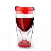 ASOBU Тристенна охлаждаща чаша за вино с капак ICE VINO 2 GO - 300 мл - цвят червен