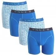 Vinnie-G boxershorts Blue Sky - Print Uni Blauw 4-pack-XXL