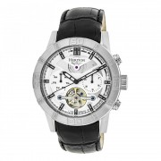 Heritor Automatic Hamilton Semi-Skeleton Leather-Band Watch - Silver HERHR4101