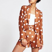 River Island Womens Brown spot cropped blazer (12)