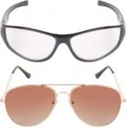 Aligatorr Aviator, Retro Square Sunglasses(Clear, Brown)