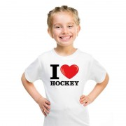 Bellatio Decorations Wit I love hockey t-shirt kinderen