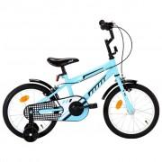 """vidaXL Bicicleta de criança roda 16"""" preto e azul"""