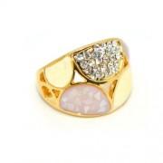 Lila Swarovski kristályos dizájner gyűrű, arany színű-7
