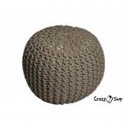 Pletený puf CrazyShop SOLID Mini, béžový (ručně pletený)