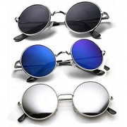 DEBONAIR UV Protection Round Unisex Sunglasses (Black Blue Silver) - Pack of 3
